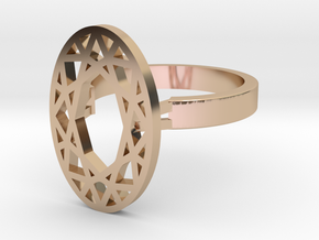 Oval Diamond ring 55mm in 14k Rose Gold Plated Brass