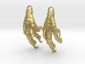 Raven Claw Statement Earrings in Natural Brass