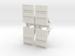 Wooden Barricade (x4) 1/144 in White Natural Versatile Plastic
