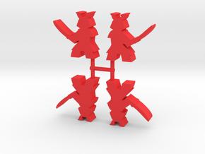 Samurai Meeple, Sword Attack, 4-set in Red Processed Versatile Plastic