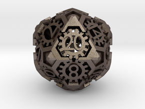 Steampunk D20 hollow in Polished Bronzed-Silver Steel
