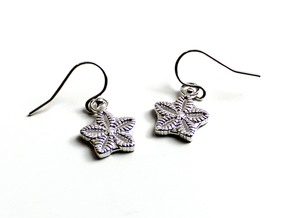 Crinoid Star Earrings - Science Jewelry in Natural Silver