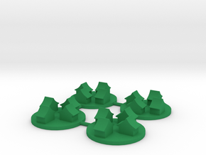 Ancient Asian-style Town Token, 4-set in Green Processed Versatile Plastic