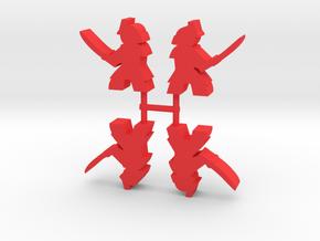 Samurai Meeple, Sword Attack, Side, 4-set in Red Processed Versatile Plastic