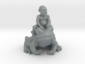 Putti On Frog 3 Inches Tall in Polished Metallic Plastic