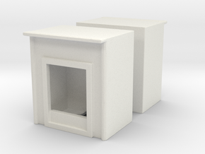 Fireplace (x2) 1/87 in White Natural Versatile Plastic
