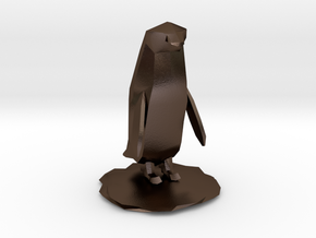 Penguin in Polished Bronze Steel