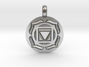 BASE ROOT Chakra Muladhara Symbol Pendant in Natural Silver