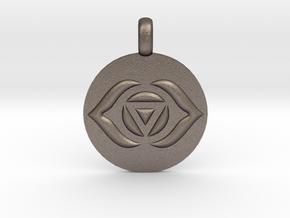 AJNA THIRD EYE Chakra Symbol jewelry Pendant in Polished Bronzed Silver Steel
