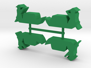 Asian-style River Boat Meeple, 4-set in Green Processed Versatile Plastic