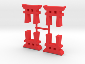 Torii Gate Meeple, 4-set in Red Processed Versatile Plastic