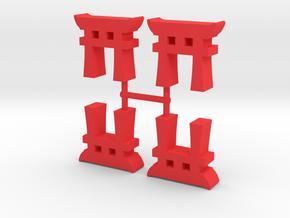 Torii Gate Meeple, 4-set in Red Processed Versatile Plastic