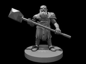 Dwarf Barbarian with a Maul in Smooth Fine Detail Plastic