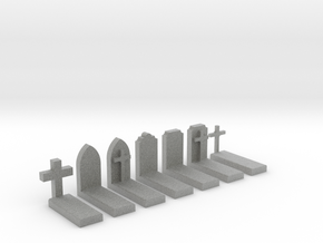N Scale Cemetery Graves Graveyard 1:160 in Metallic Plastic