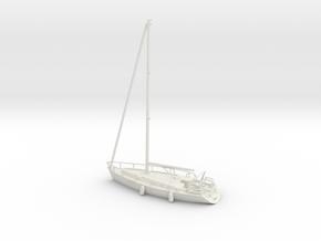 Sailboat 01.HO Scale (1:87) in White Natural Versatile Plastic