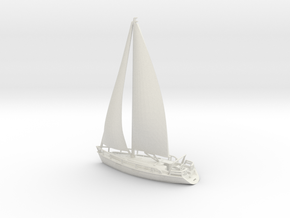 SailBoat 02 with sails. N Scale (1:160) in White Natural Versatile Plastic