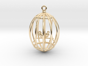bird in a golden cage in 14K Yellow Gold