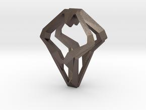 HEAD TO HEAD Open, Pendant.  in Polished Bronzed Silver Steel
