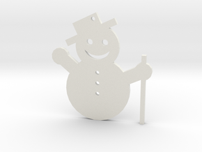 Snowman Tree Ornament in White Natural Versatile Plastic