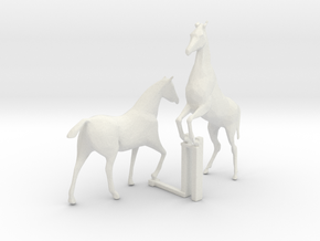 HO Scale Horses 4 in White Natural Versatile Plastic