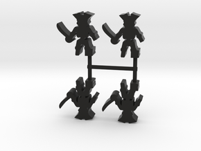 Pirate Skeleton Meeple, peg leg, 4-set in Black Natural Versatile Plastic