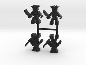 Pirate Skeleton Meeple, hook, 4-set in Black Natural Versatile Plastic
