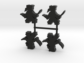 Pirate Meeple Lad, sword pistol, 4-set in Black Natural Versatile Plastic