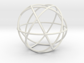 Penta Sphere, round section in White Natural Versatile Plastic