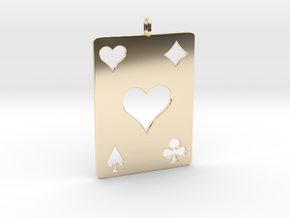 As de coeur - Ace of hearts in 14k Gold Plated Brass