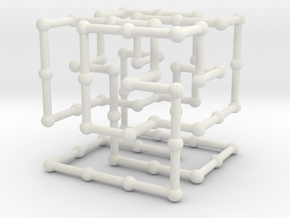 Knot 8_19 in grid in White Natural Versatile Plastic