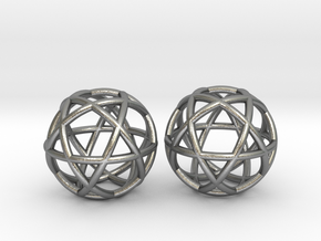Penta Sphere 2 beads in Natural Silver