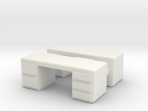 Office Desk (x2) 1/76 in White Natural Versatile Plastic