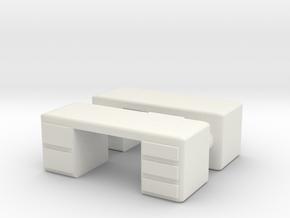 Office Desk (x2) 1/72 in White Natural Versatile Plastic