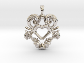 Swedish Dala Kurbits Heart. in Rhodium Plated Brass
