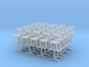 12 Tables et 25 Chaises - 1:87 Ho in Smooth Fine Detail Plastic
