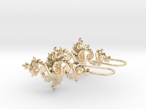 Dragon Earrings 4cm with integrated hooks in 14k Gold Plated Brass