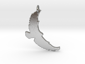 Flying Bird Pendant in Natural Silver