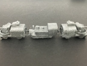 1/350th scale 2 x Armoured gun carriage cars in Smooth Fine Detail Plastic