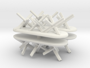 Tank Trap set (x4) 1/144 in White Natural Versatile Plastic