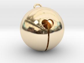 Kawaii Jingle Bell 2cm Golden Christmas Cat in 14k Gold Plated Brass