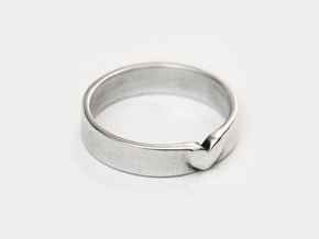 I Love You Heart Promise Ring for Women .4mm Wide  in Polished Silver: 7.5 / 55.5