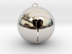 Kawaii Jingle Bell 5cm Golden Christmas Cat in Rhodium Plated Brass