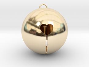 Kawaii Jingle Bell 5cm Golden Christmas Cat in 14k Gold Plated Brass