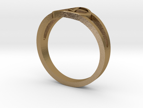 Pentagram Ring in Polished Gold Steel