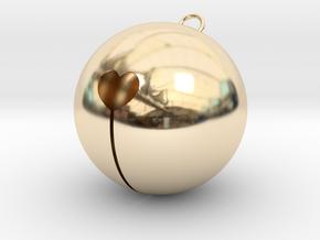 Kawaii Jingle Bell 8cm Golden Christmas Cat in 14k Gold Plated Brass