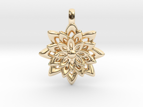 Lotus Flower Symbol Jewelry Necklace in 14K Yellow Gold