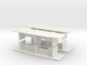 Modern Office Desk (x4) 1/120 in White Natural Versatile Plastic