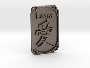 Love-Ornament in Polished Bronzed-Silver Steel