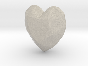 Lucky Heart Pendant for a Necklace or Keychain in Natural Sandstone