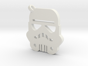 Stormtrooper Silhouette Keychain in White Natural Versatile Plastic